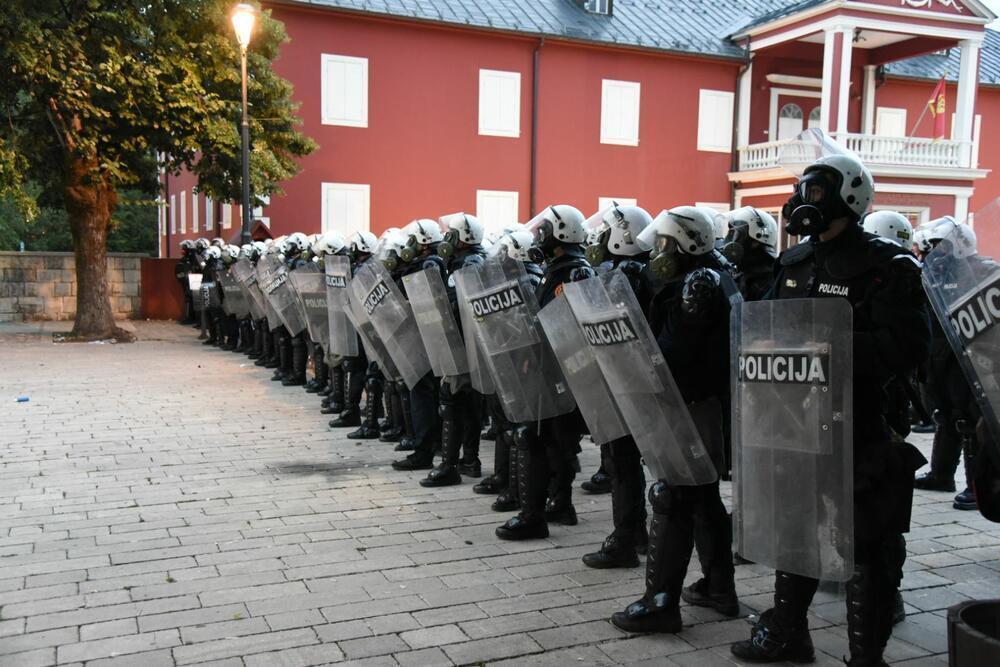 Полиция сдерживала демонстрантов.