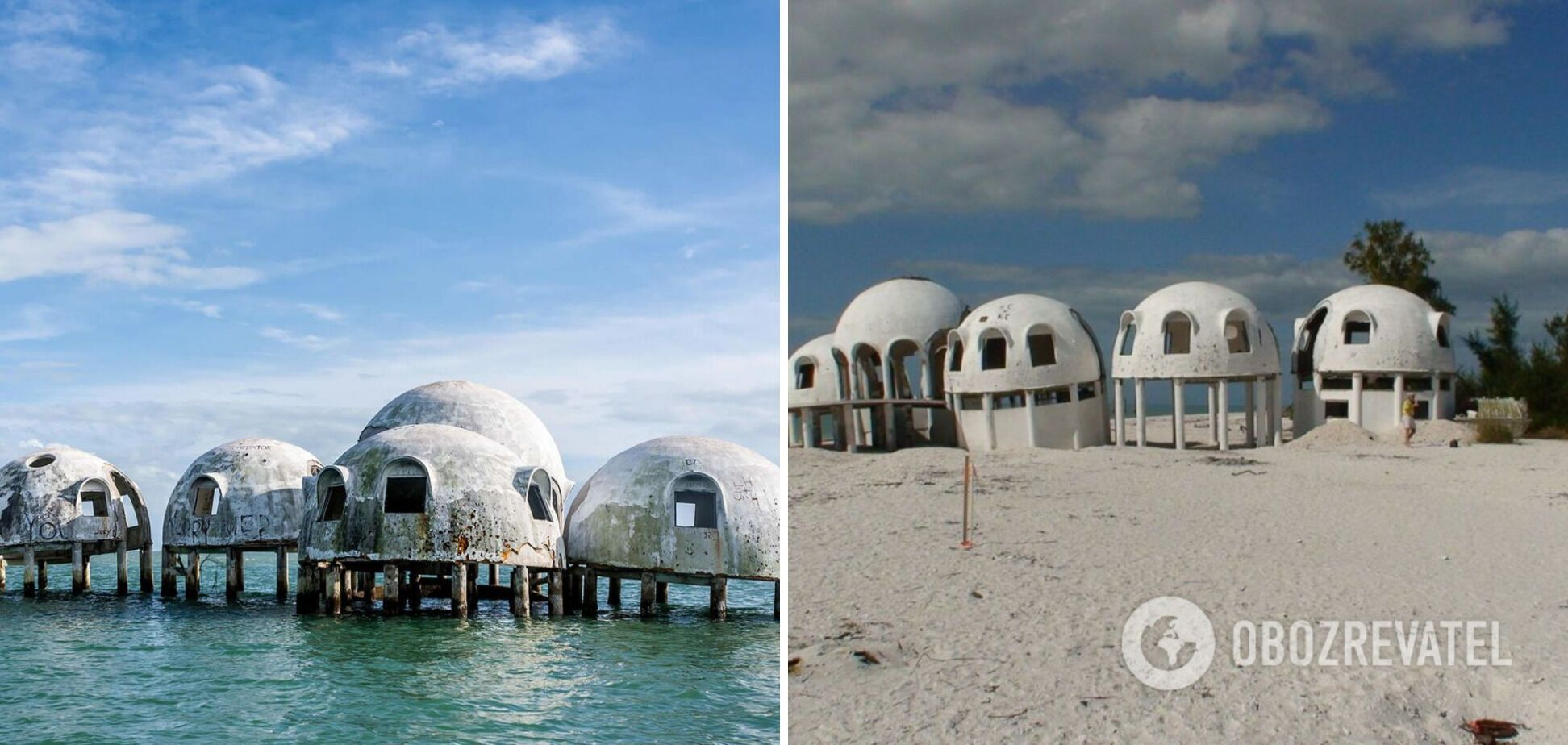 Купольные дома во Флориде расположены в океане.