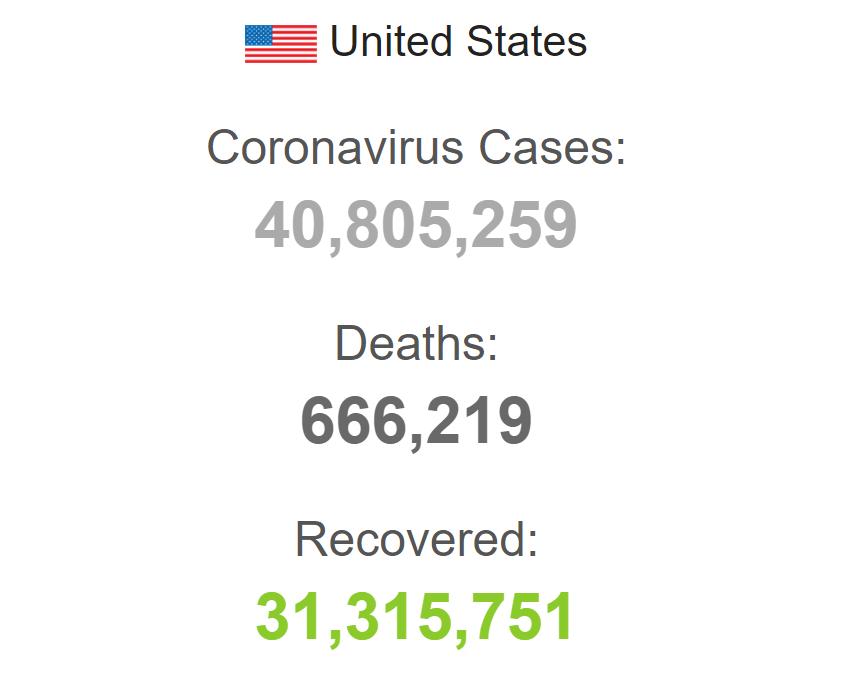 Заболеваемость коронавирусом в США.