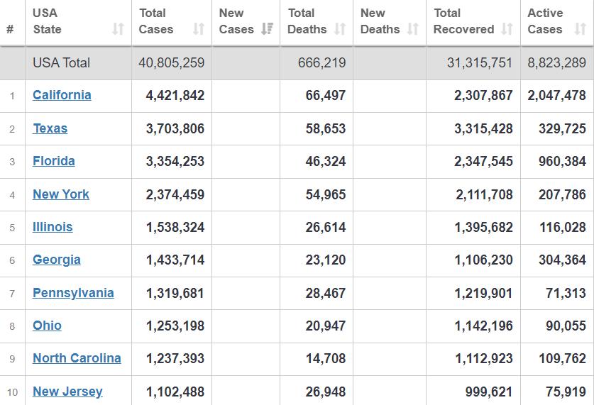 Топ-10 штатов по распространению вируса.