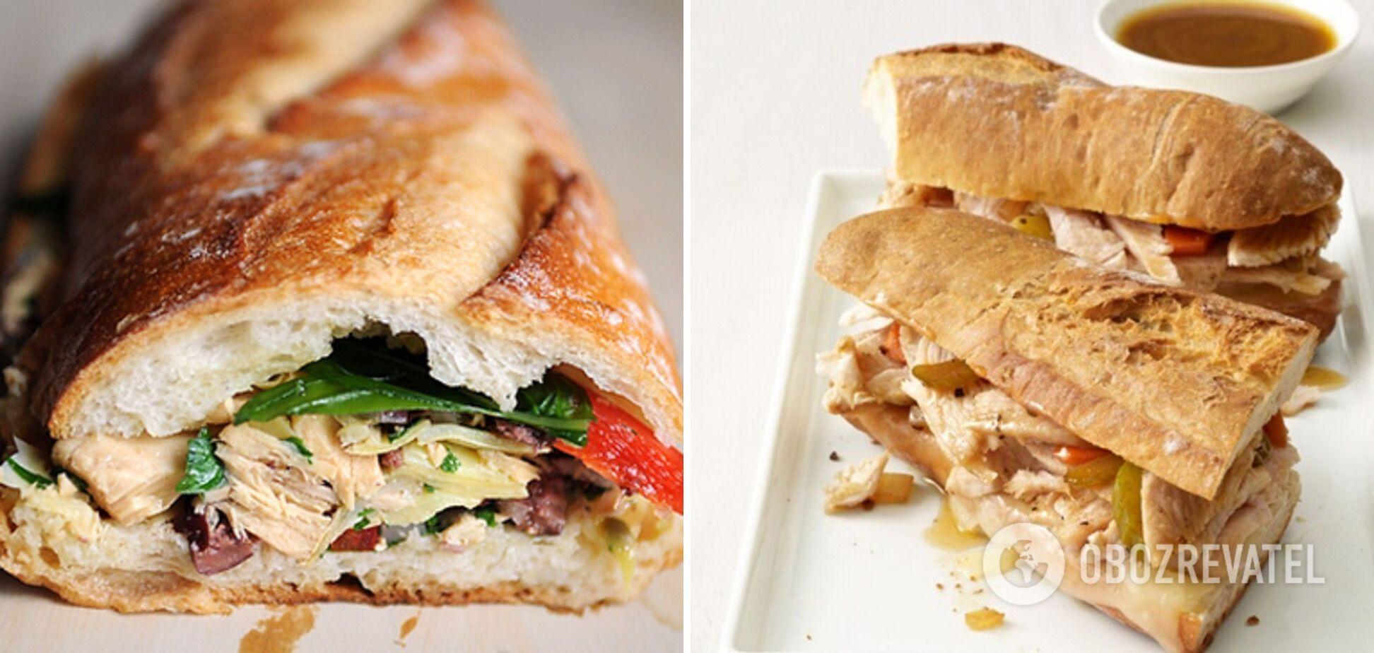 Сэндвич с курицей и шампиньонами