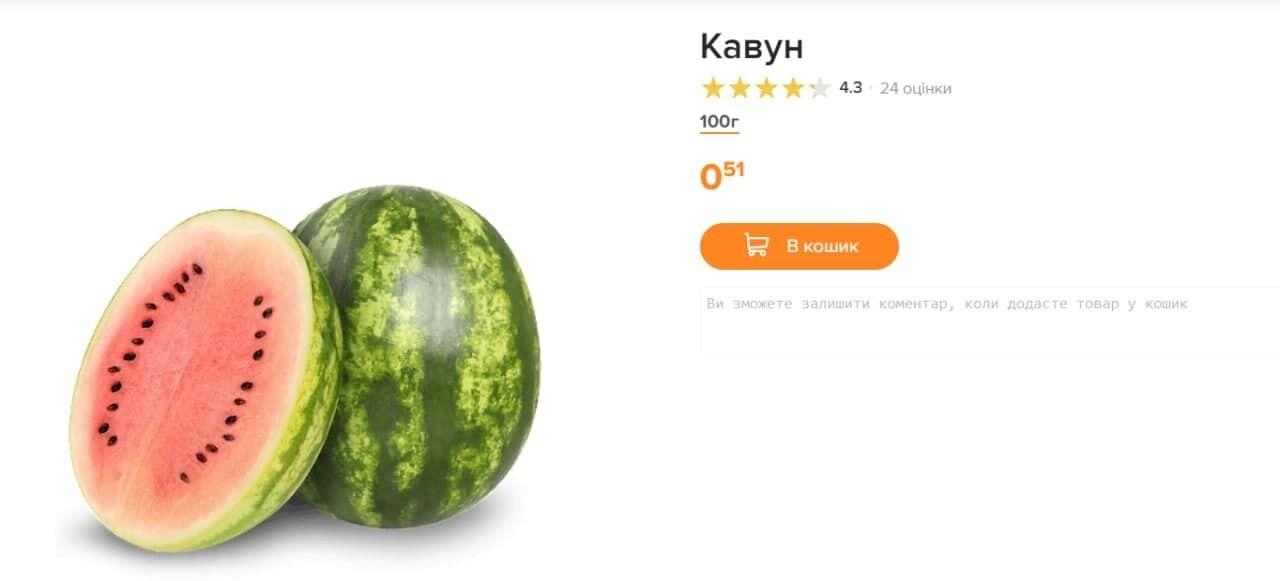 Стоимость арбуза в супермаркете