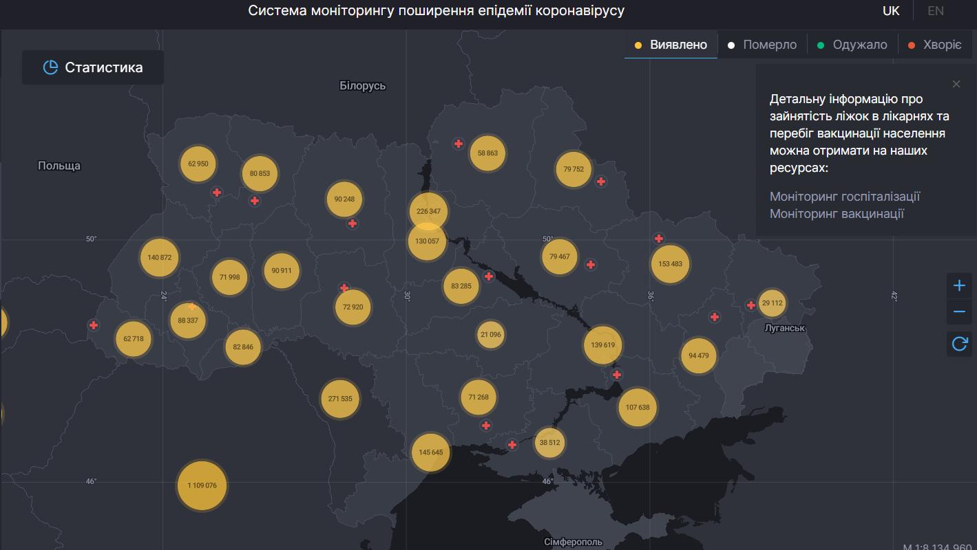 Дані щодо COVID-19 в Україні