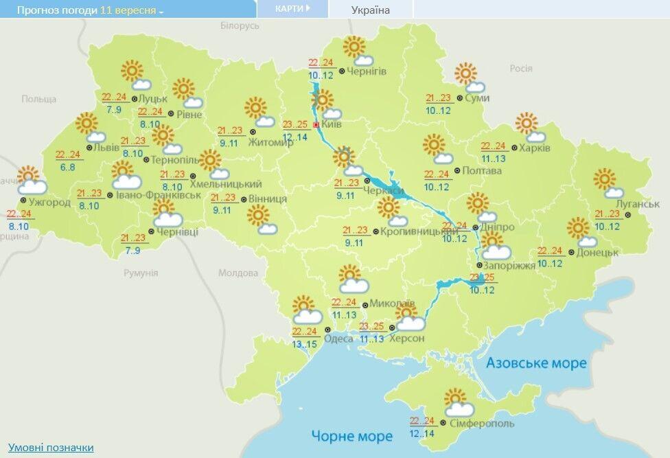 Погода в Украине 11 сентября