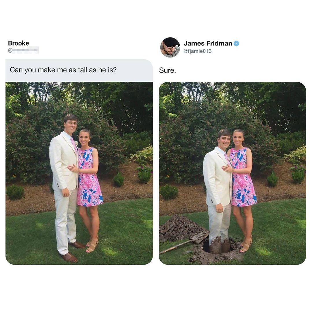 Підписниця попросила зробити її з хлопцем однакового зросту