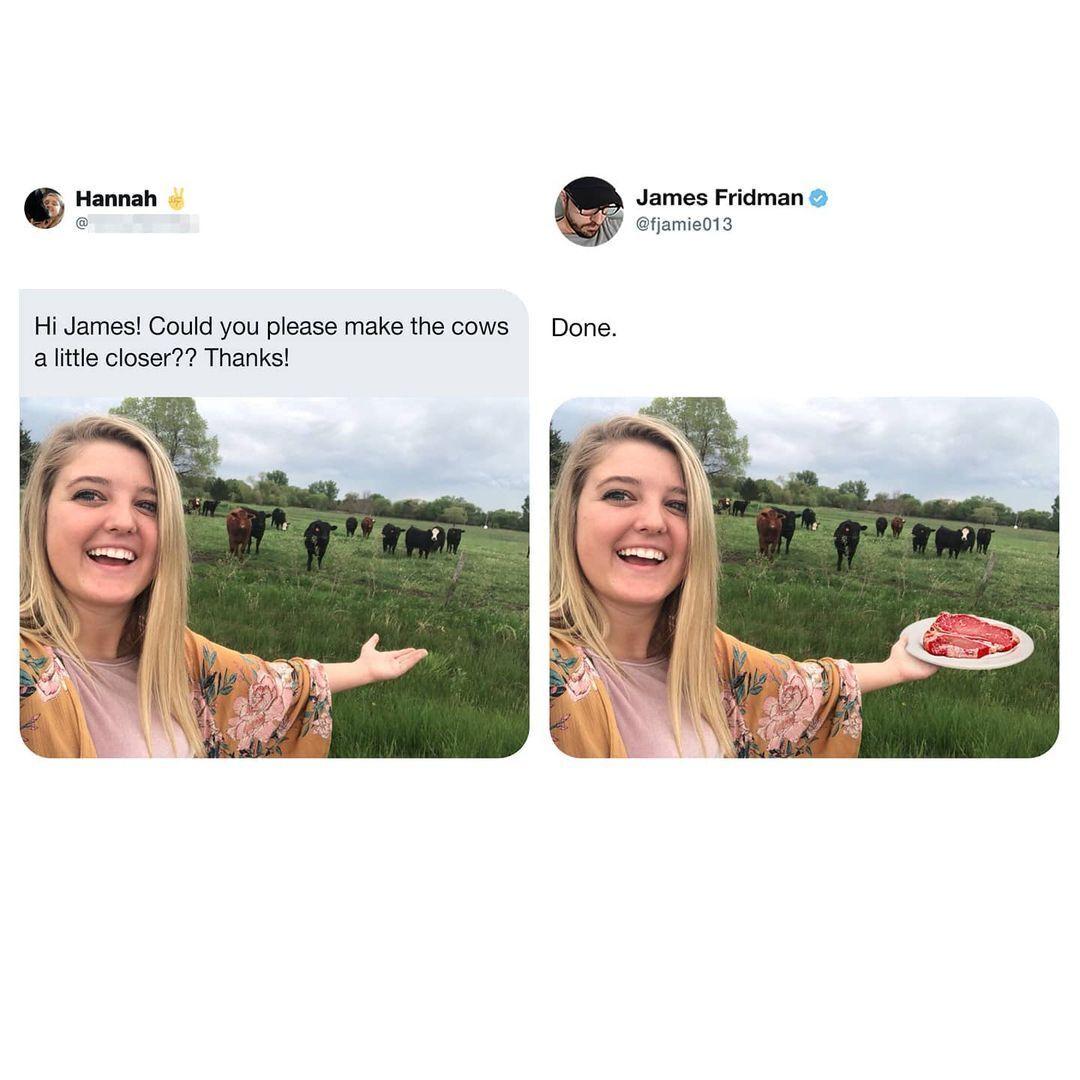 Користувачка запитала чи можна трішки приблизити до неї корів