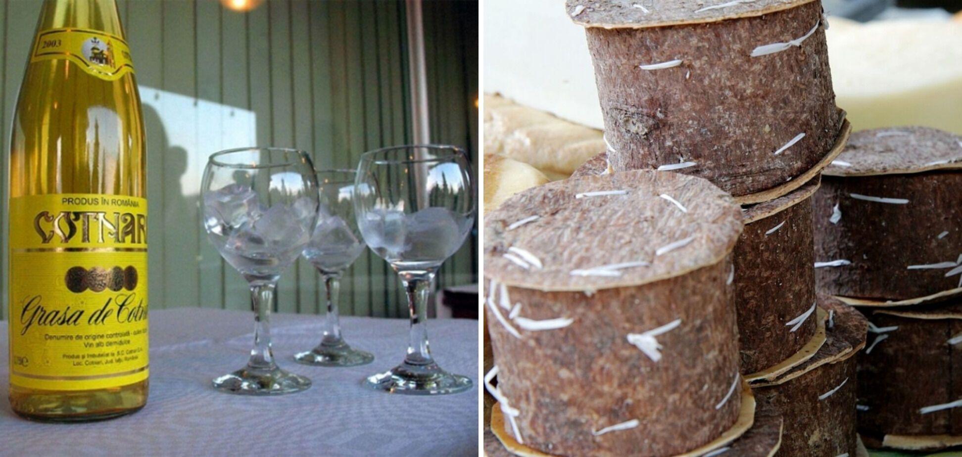 Місцеве вино та сир у ялиновій корі. Вино можна взяти і в супермаркеті, а по сир краще на базар, звісно.