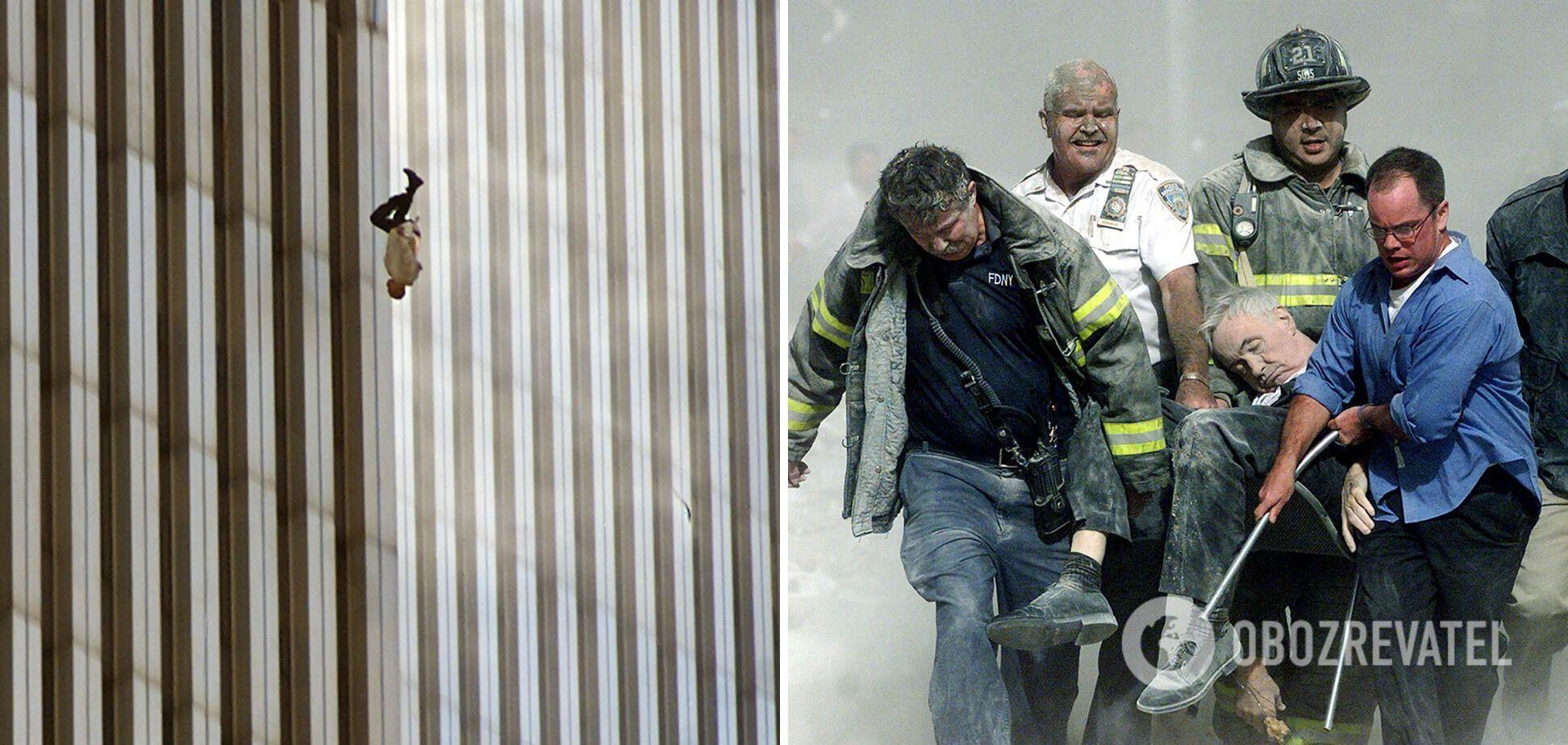 Люди были вынуждены выпрыгивать из горящего здания Всемирного торгового центра