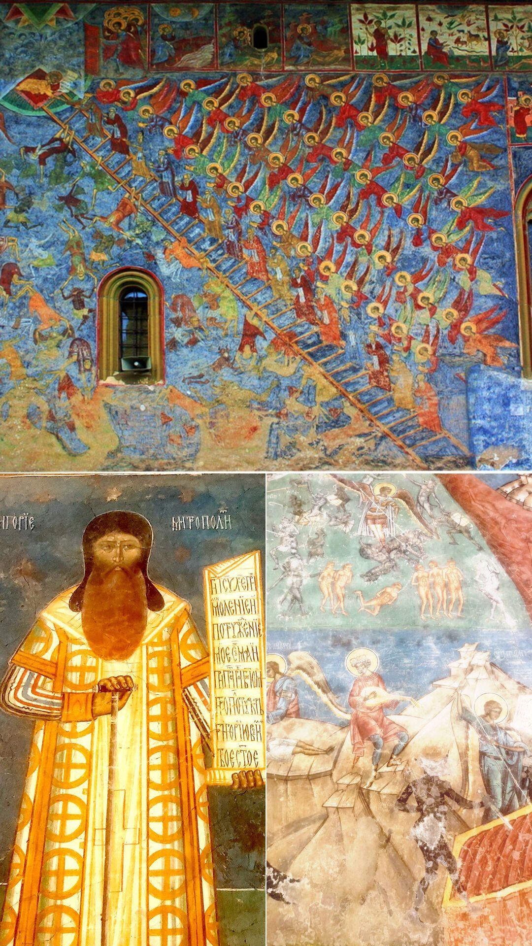 """Фрагменти унікальних фресок. """"Сходи праведників"""" з Сучевиці, а під ними – елементи зовнішнього оздоблення церкви у Воронці."""