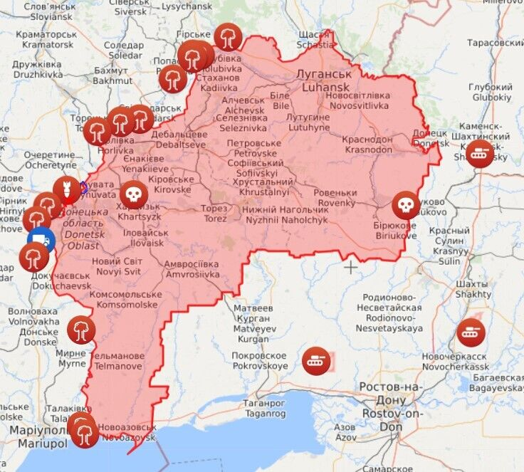 Карта обстрелов на Донбассе