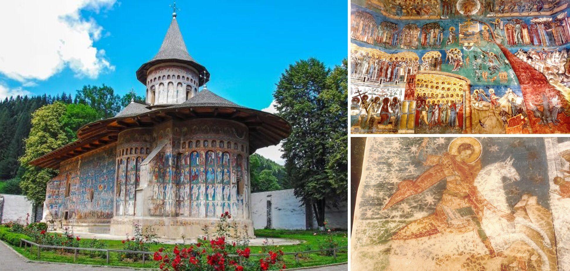 """Воронець, Сикстинська капела Східної Європи. Угорі фото фрески """"Страшний суд"""", під ним – Святий Георгій."""