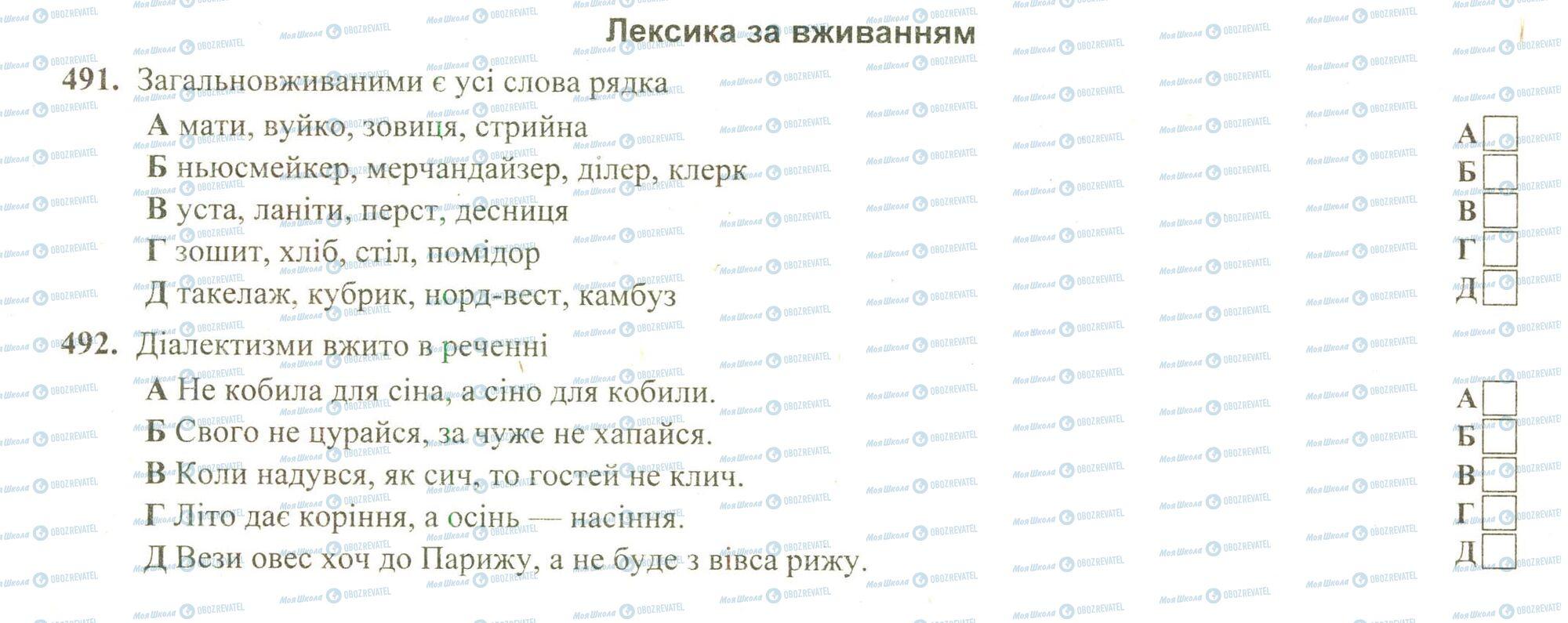 ЗНО Українська мова 11 клас сторінка 491-492