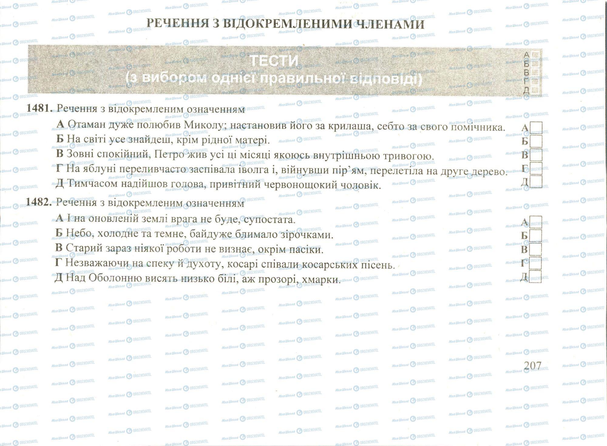 ЗНО Укр мова 11 класс страница 1481-1482