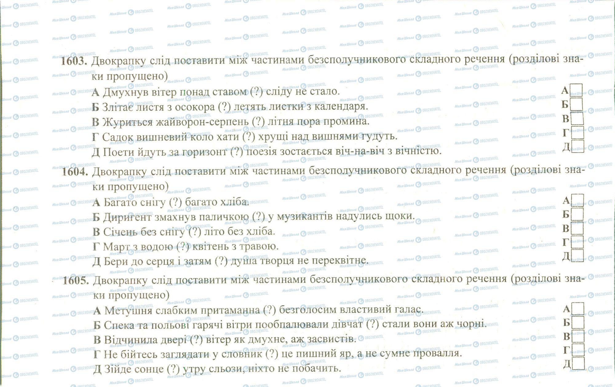 ЗНО Українська мова 11 клас сторінка 1603-1605