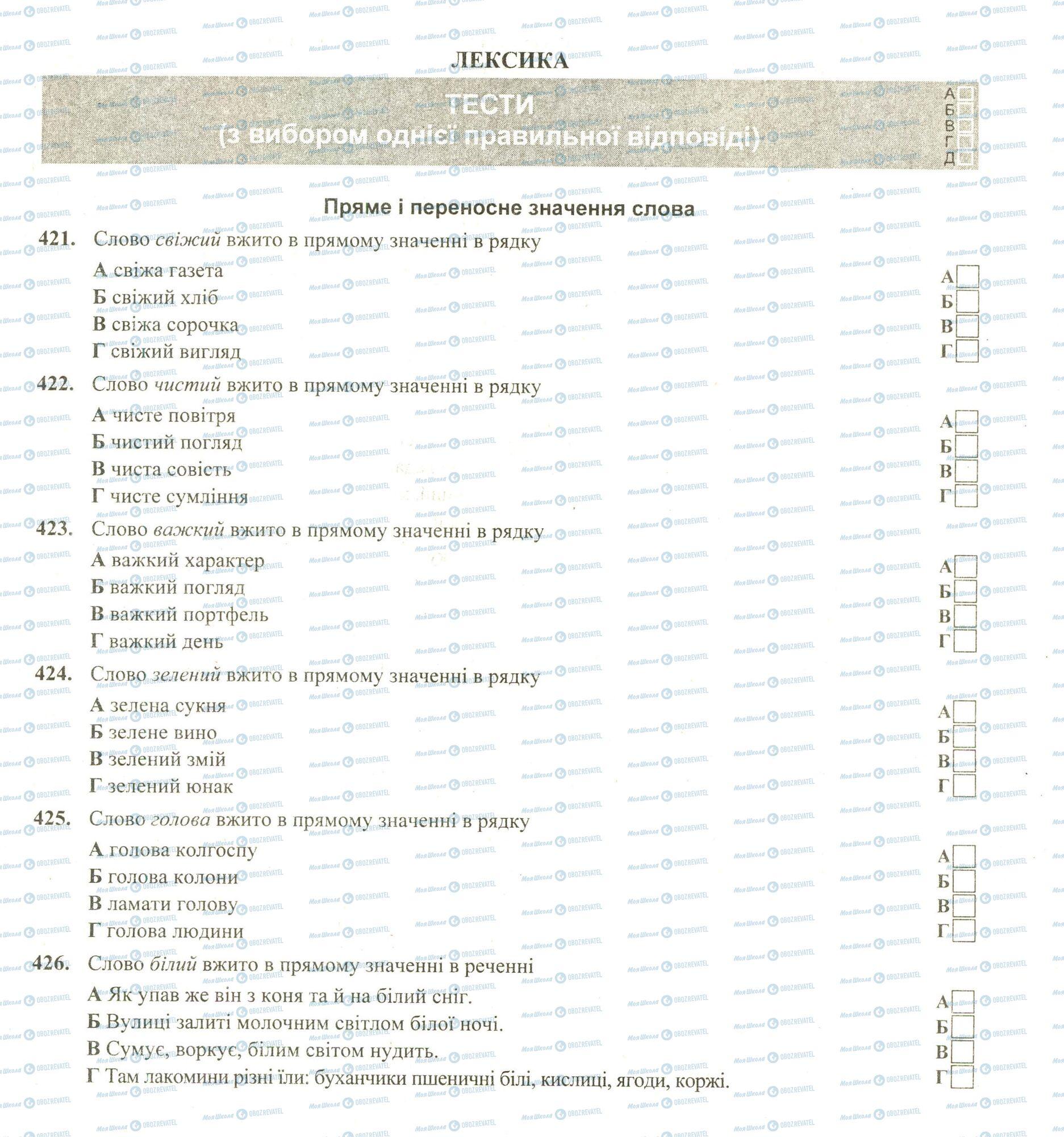 ЗНО Українська мова 11 клас сторінка 421-426