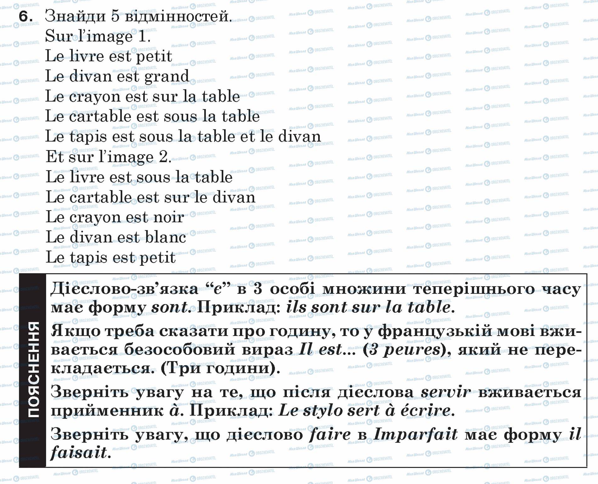 ГДЗ Французька мова 5 клас сторінка 6