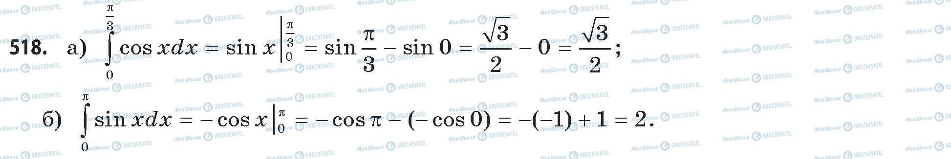 ГДЗ Математика 11 класс страница 518