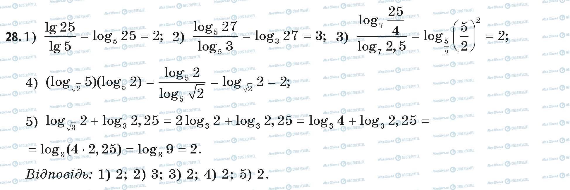 ГДЗ Математика 11 класс страница 28