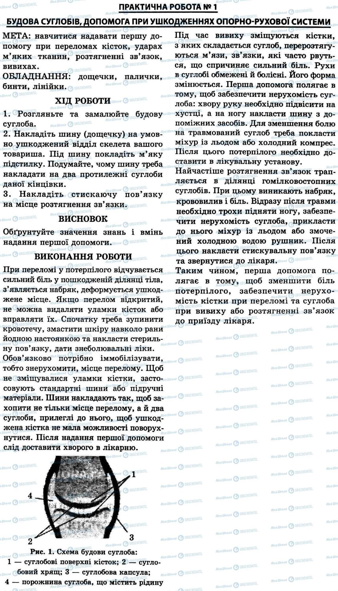 ГДЗ Біологія 9 клас сторінка № 1. Будова суглобів