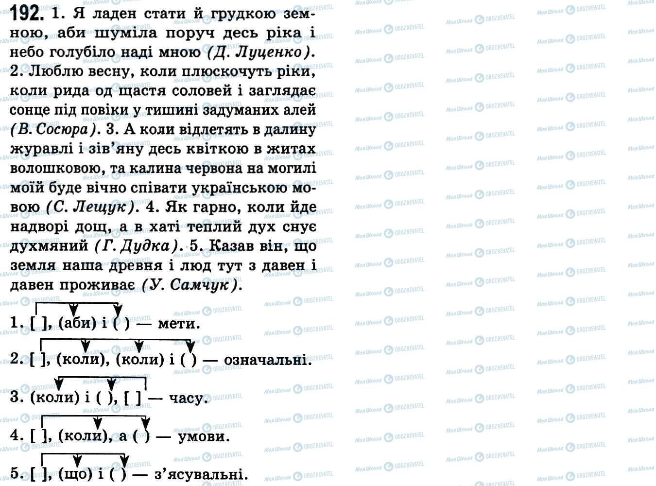 ГДЗ Українська мова 9 клас сторінка 192