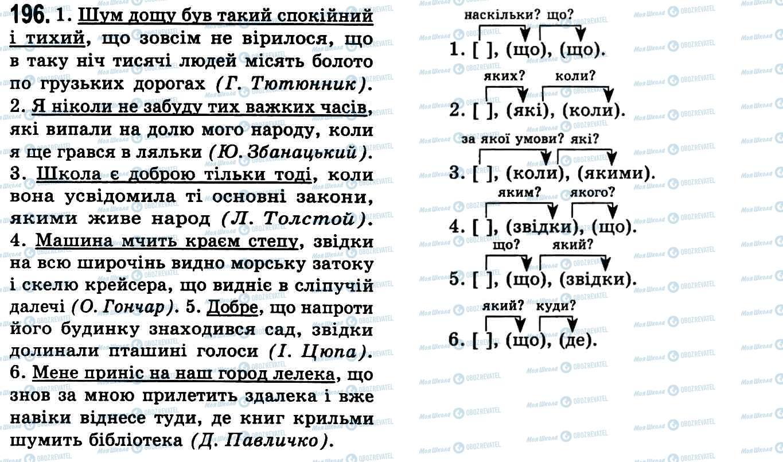 ГДЗ Українська мова 9 клас сторінка 196
