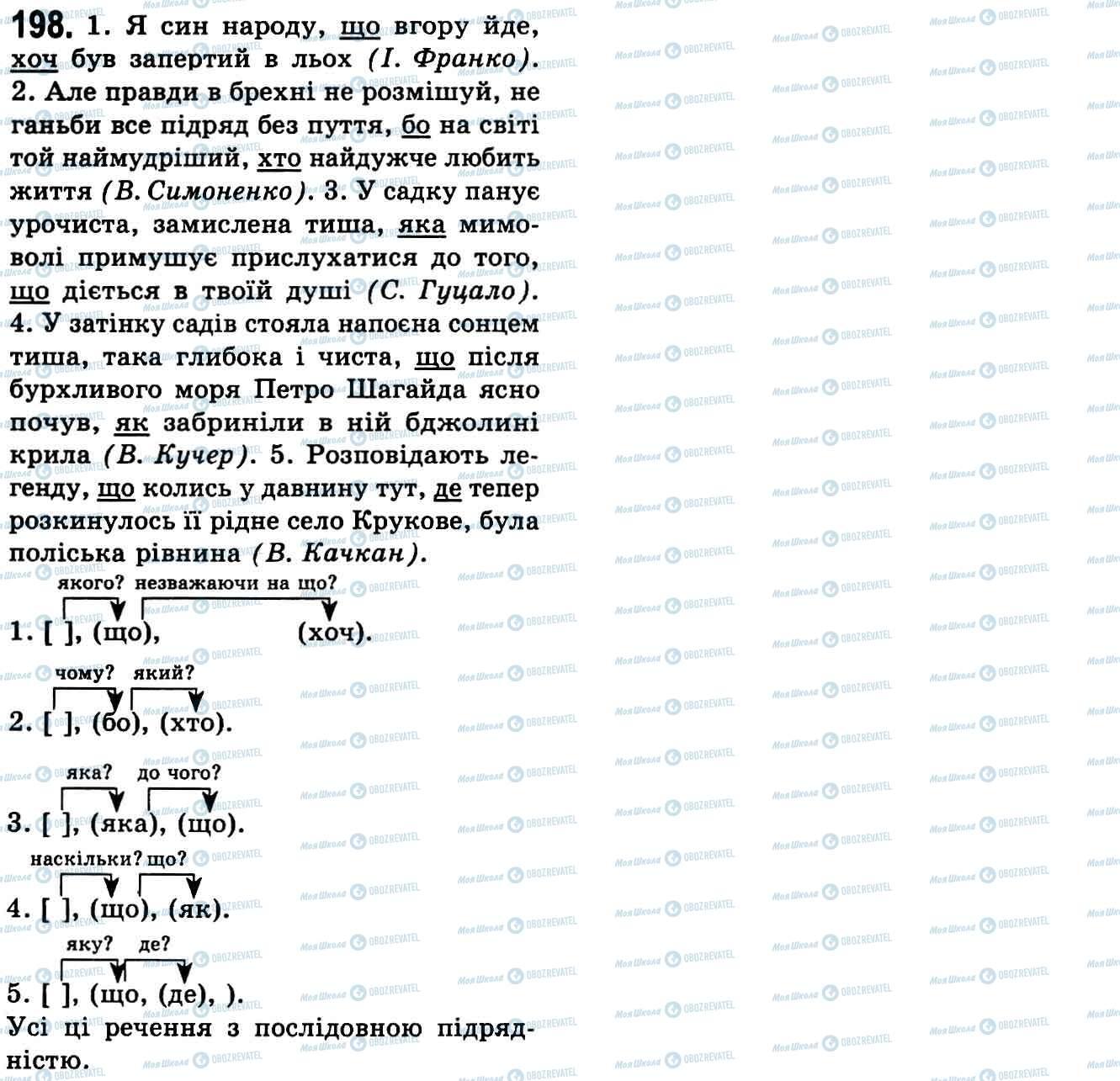 ГДЗ Українська мова 9 клас сторінка 198