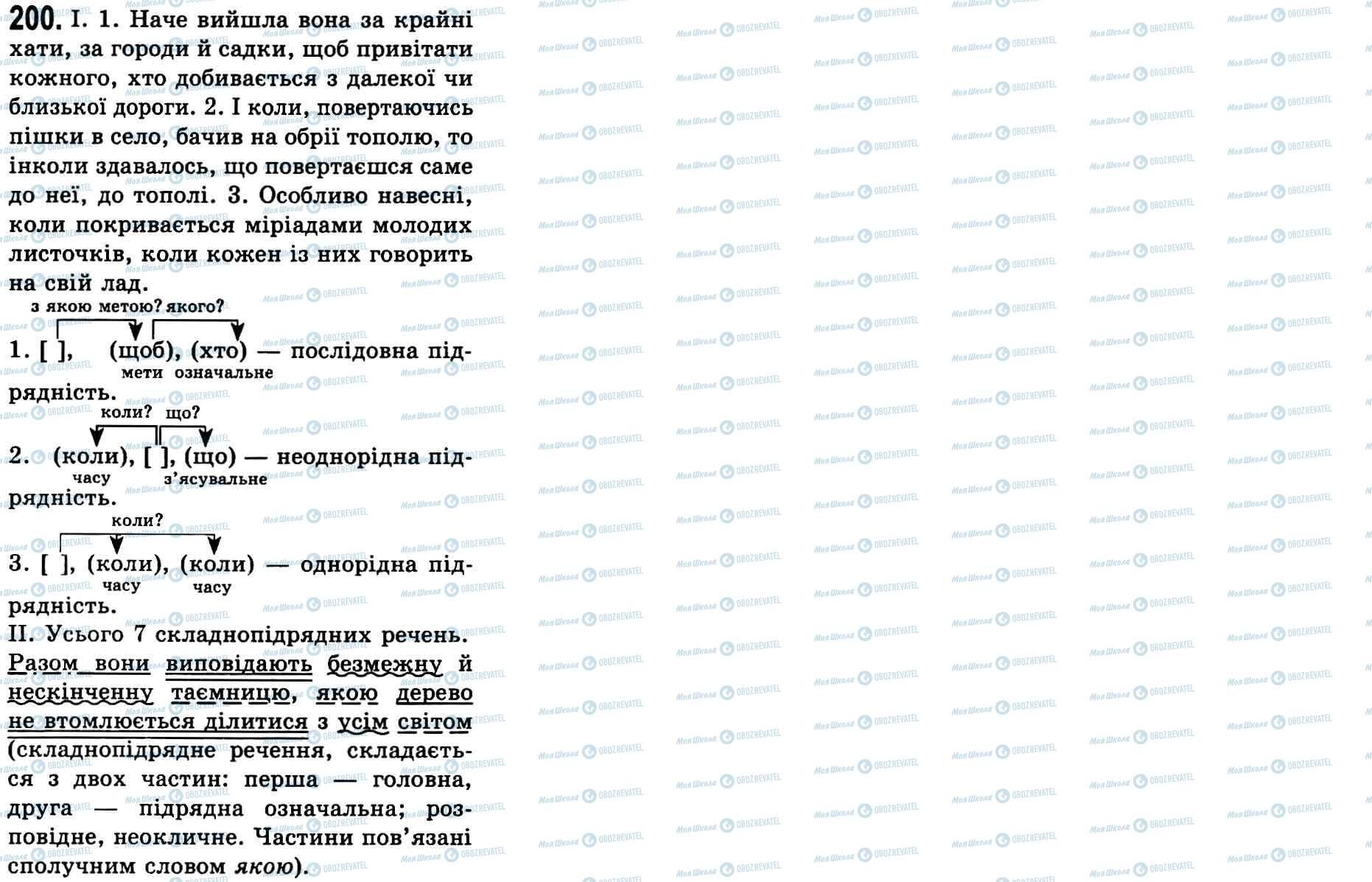 ГДЗ Українська мова 9 клас сторінка 200