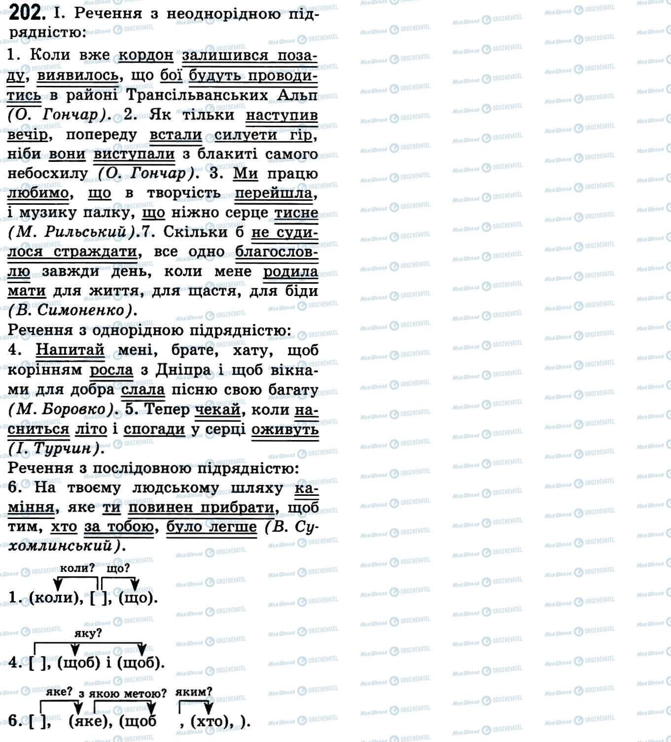 ГДЗ Українська мова 9 клас сторінка 202