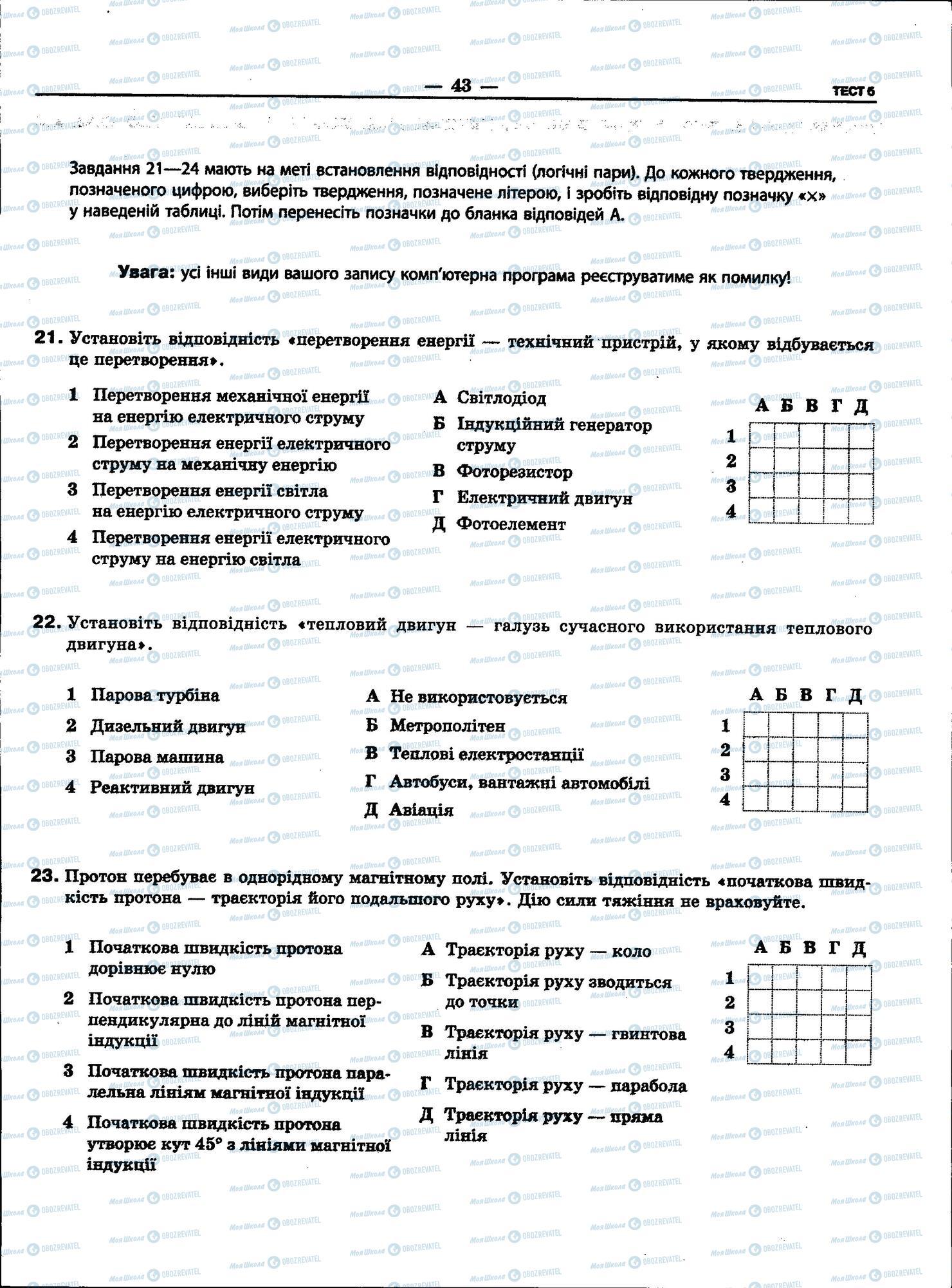 ЗНО Фізика 11 клас сторінка 43