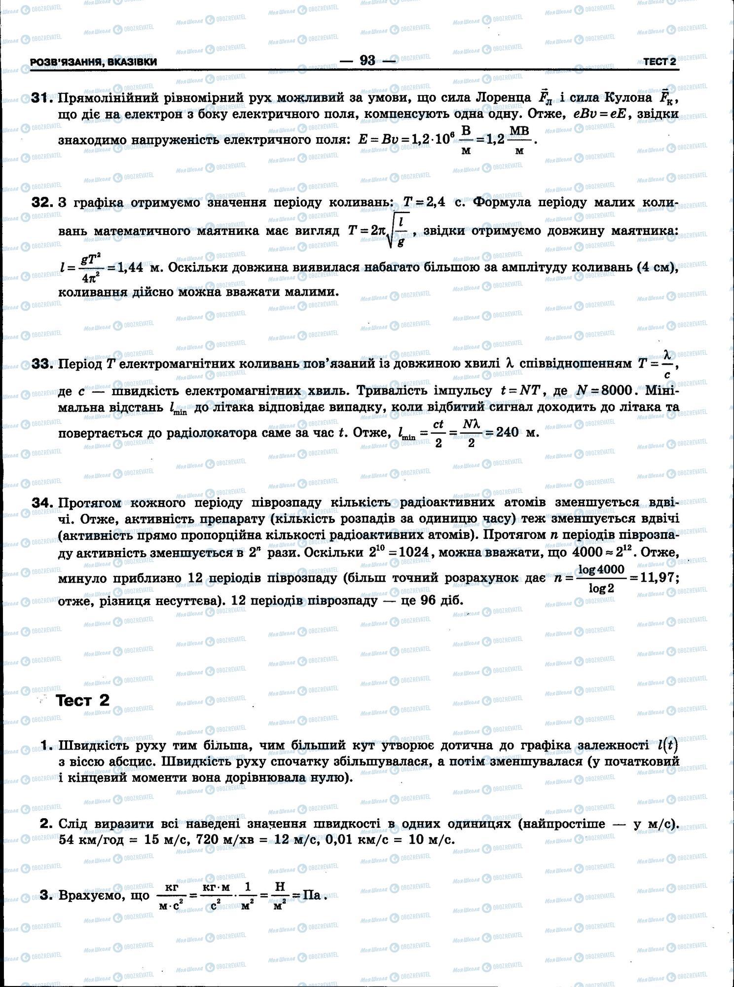 ЗНО Физика 11 класс страница 93