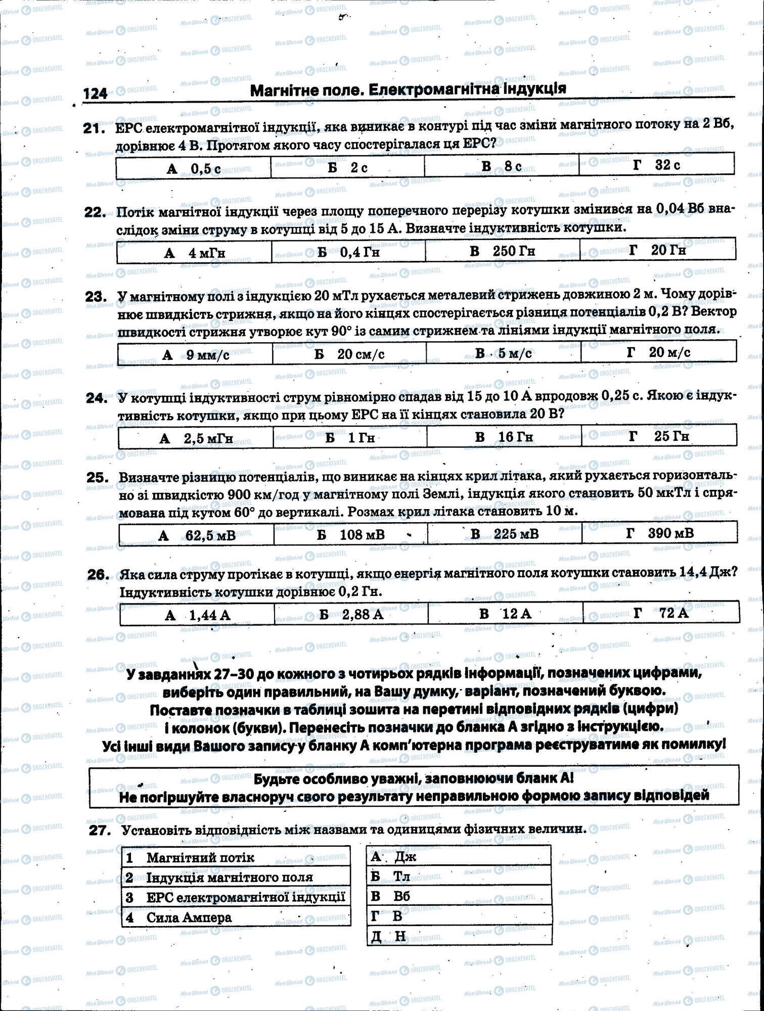 ЗНО Физика 11 класс страница 124