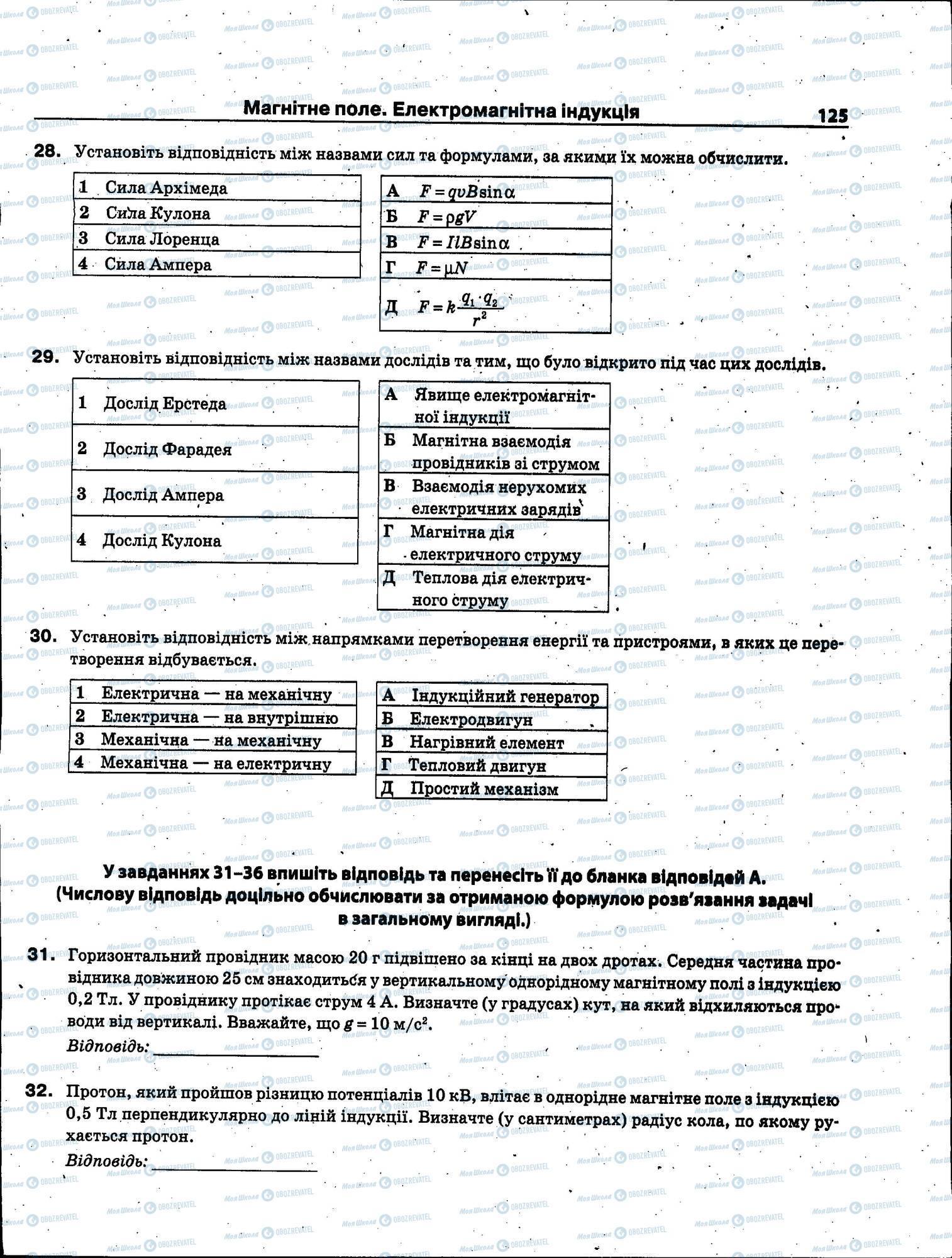 ЗНО Физика 11 класс страница 125