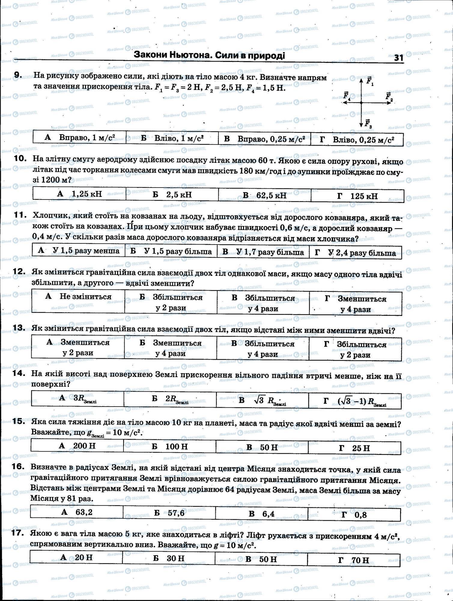 ЗНО Фізика 11 клас сторінка 031