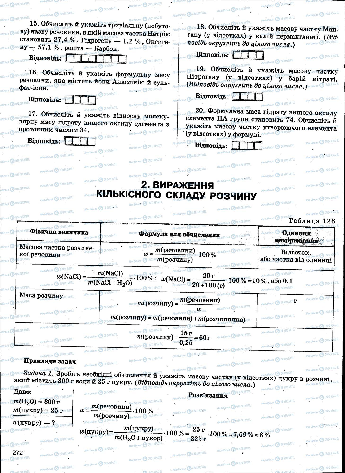ЗНО Хімія 11 клас сторінка 272