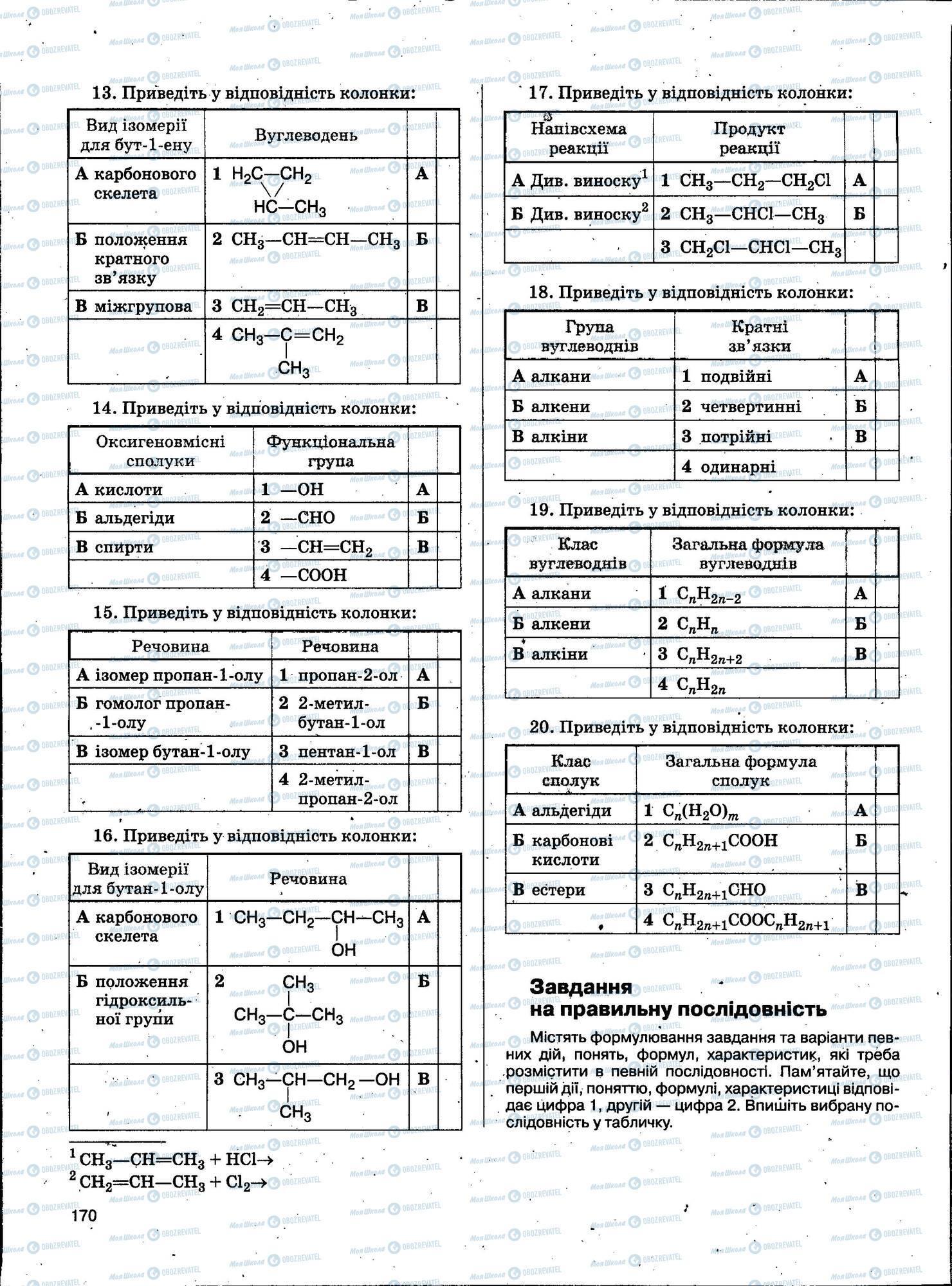ЗНО Хімія 11 клас сторінка 170