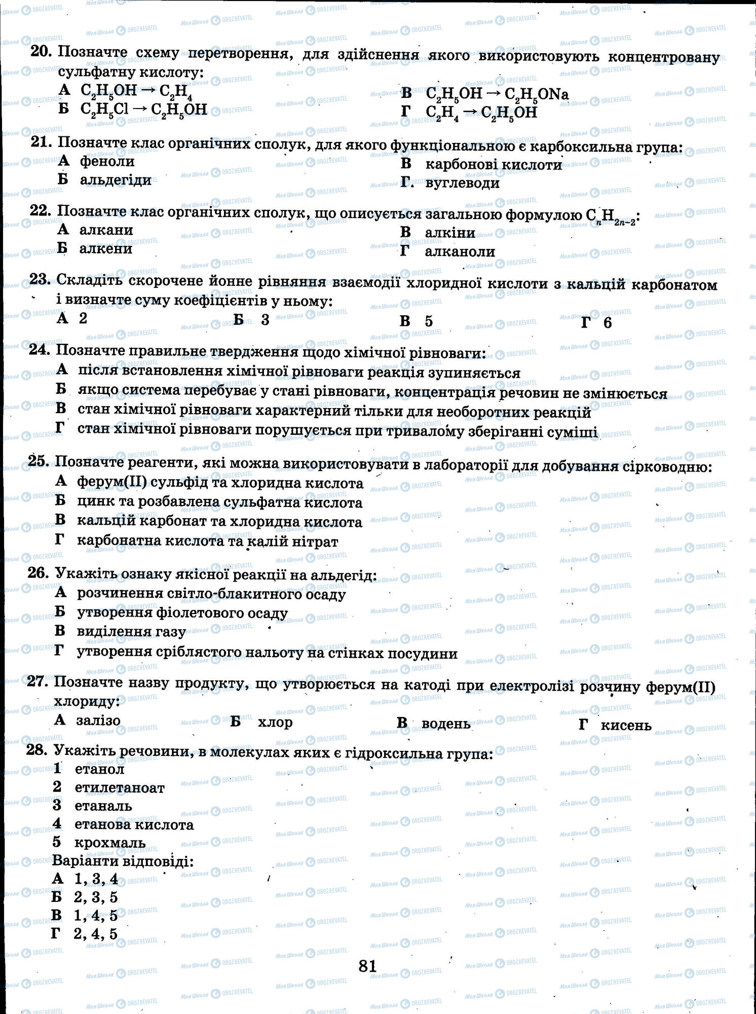 ЗНО Хімія 11 клас сторінка 081