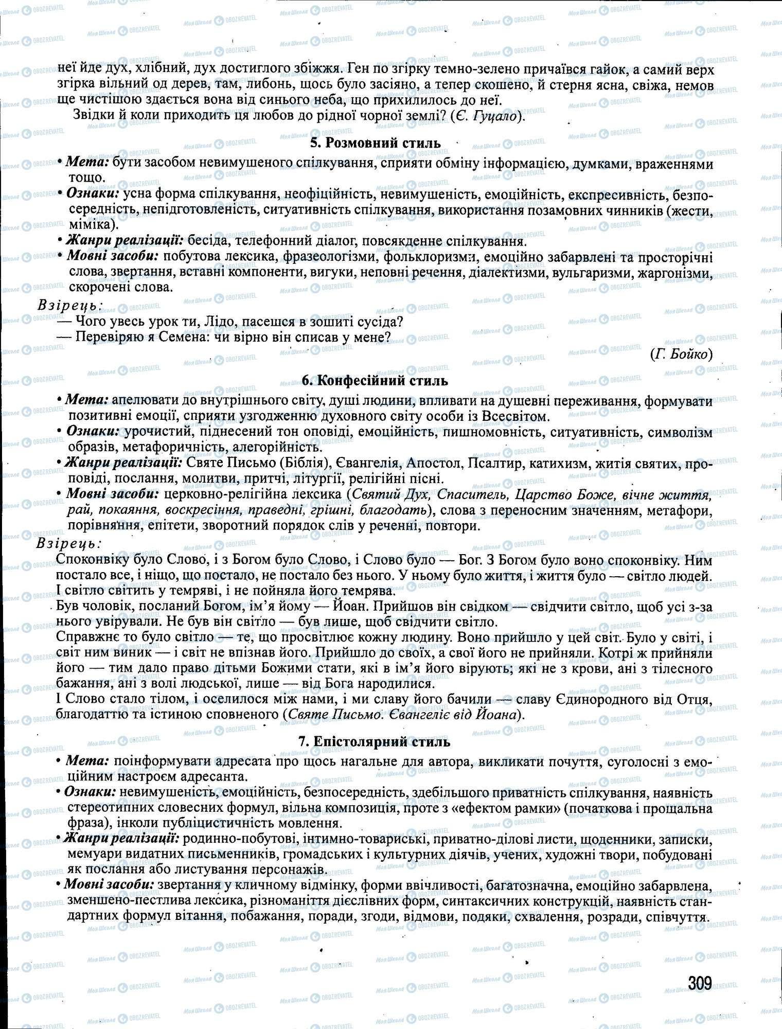 ЗНО Укр мова 11 класс страница 309