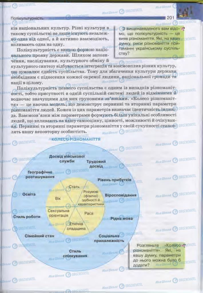 Підручники Людина і світ 11 клас сторінка  201