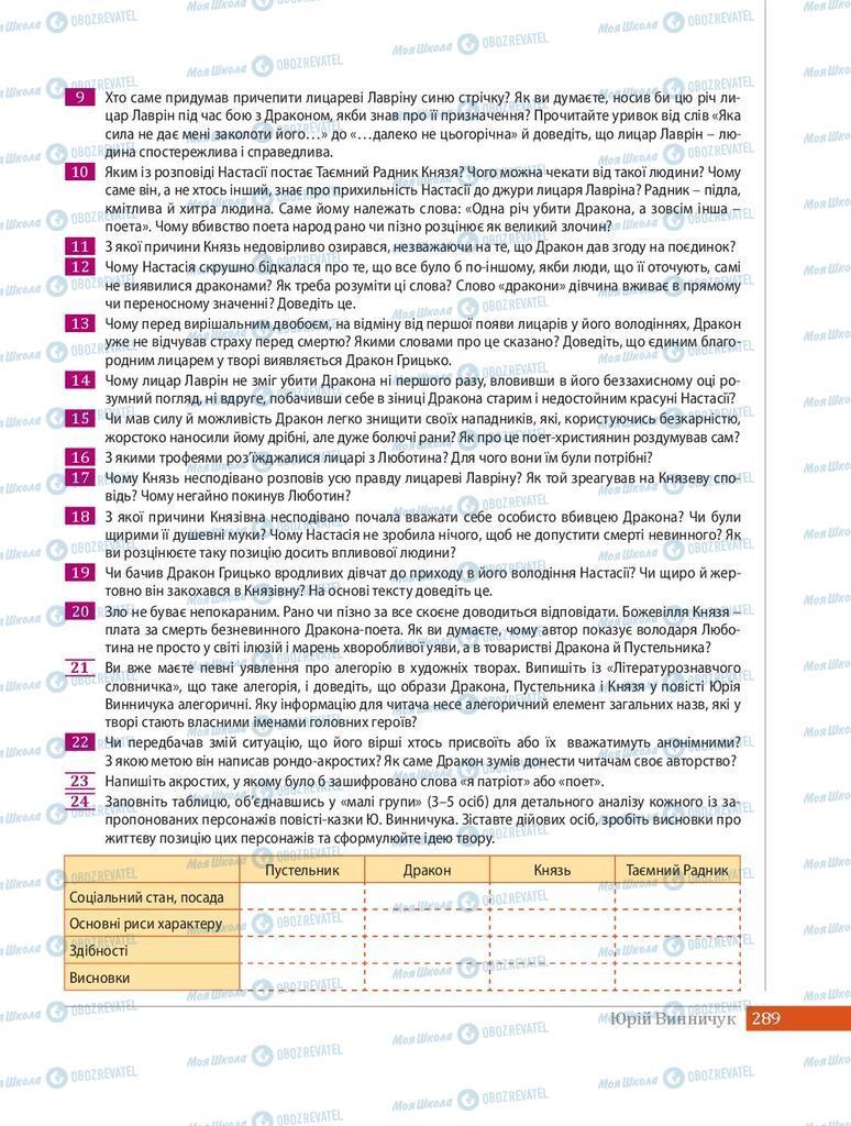 Учебники Укр лит 8 класс страница 289