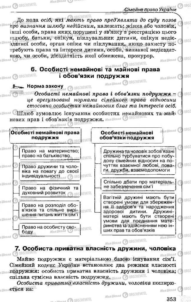 Підручники Правознавство 11 клас сторінка 353