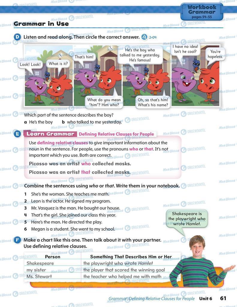 Підручники Англійська мова 6 клас сторінка 61