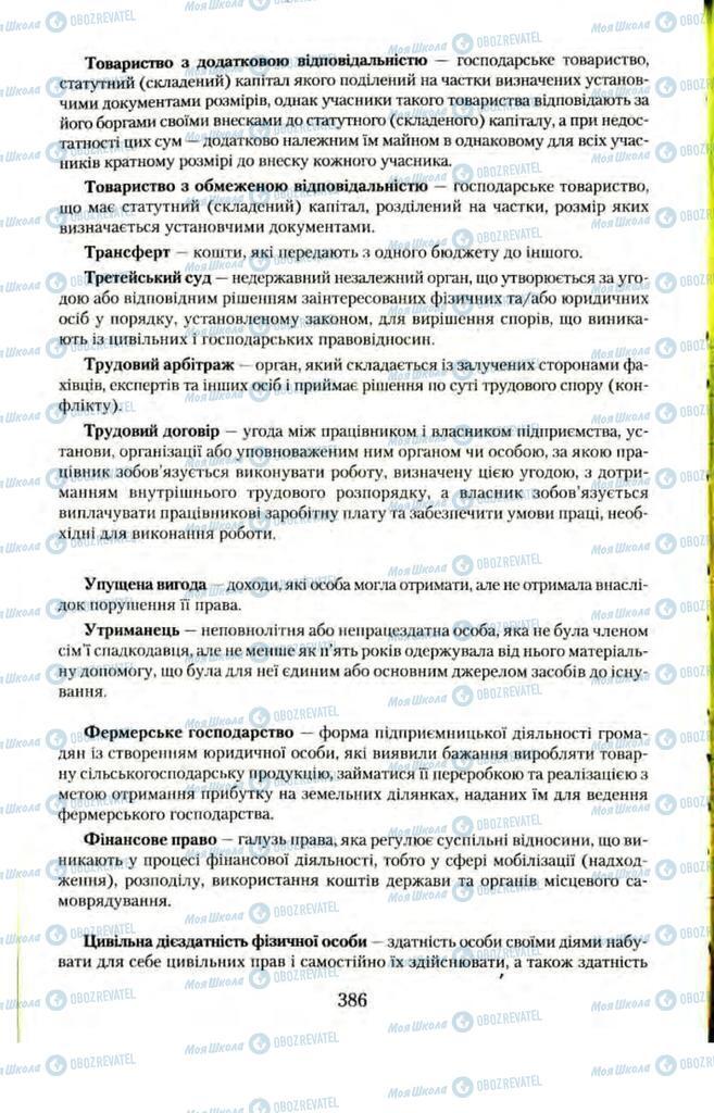 Підручники Правознавство 11 клас сторінка  386
