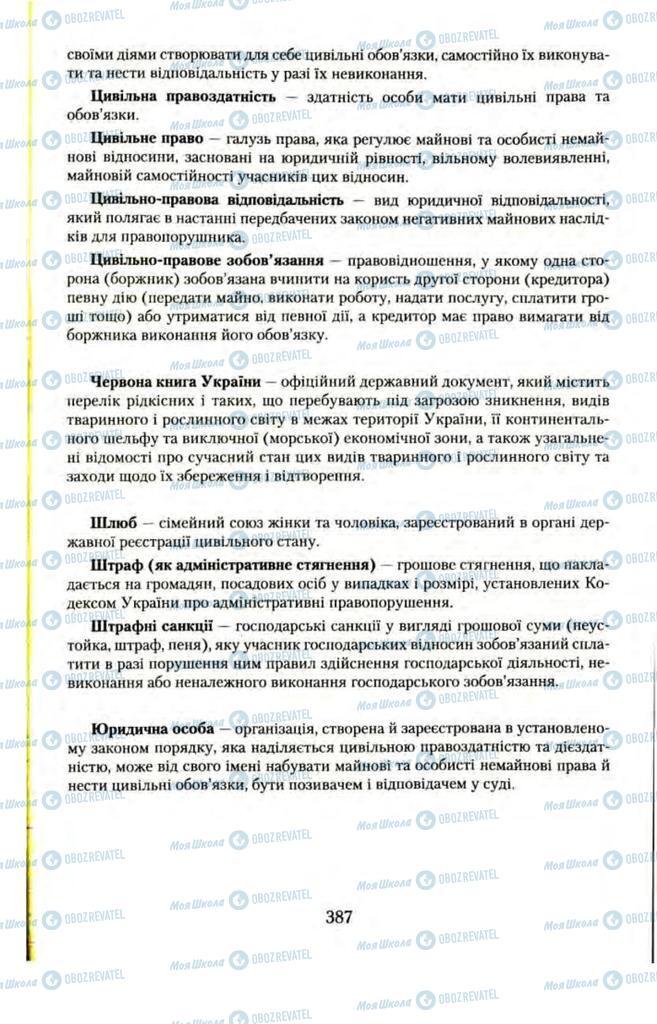 Підручники Правознавство 11 клас сторінка  387