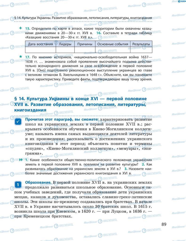 Учебники История Украины 8 класс страница 89