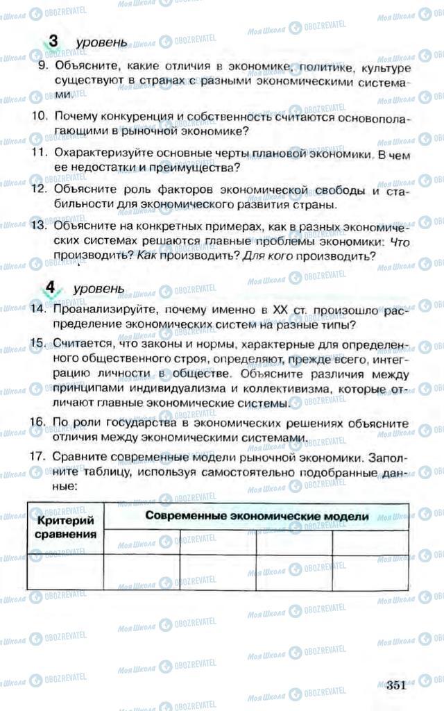 Підручники Економіка 10 клас сторінка 351
