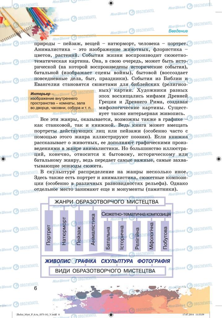 Підручники Образотворче мистецтво 6 клас сторінка  6
