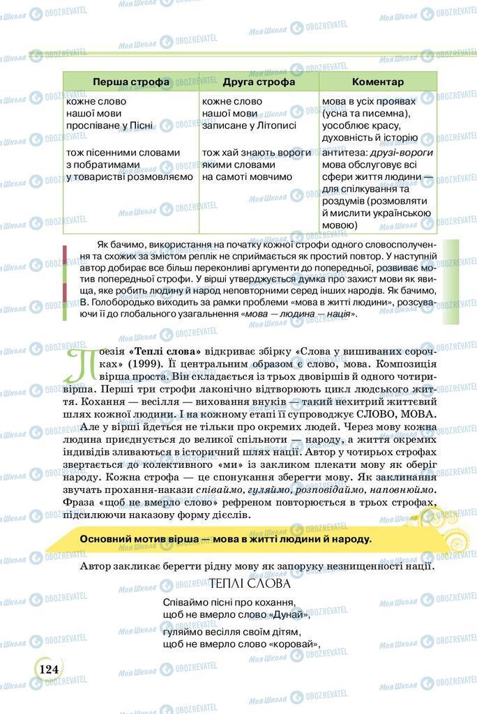 Учебники Укр лит 8 класс страница  124