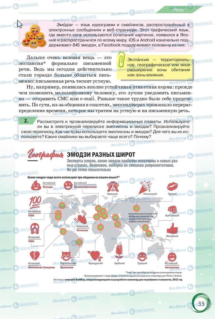 Підручники Російська мова 10 клас сторінка 33
