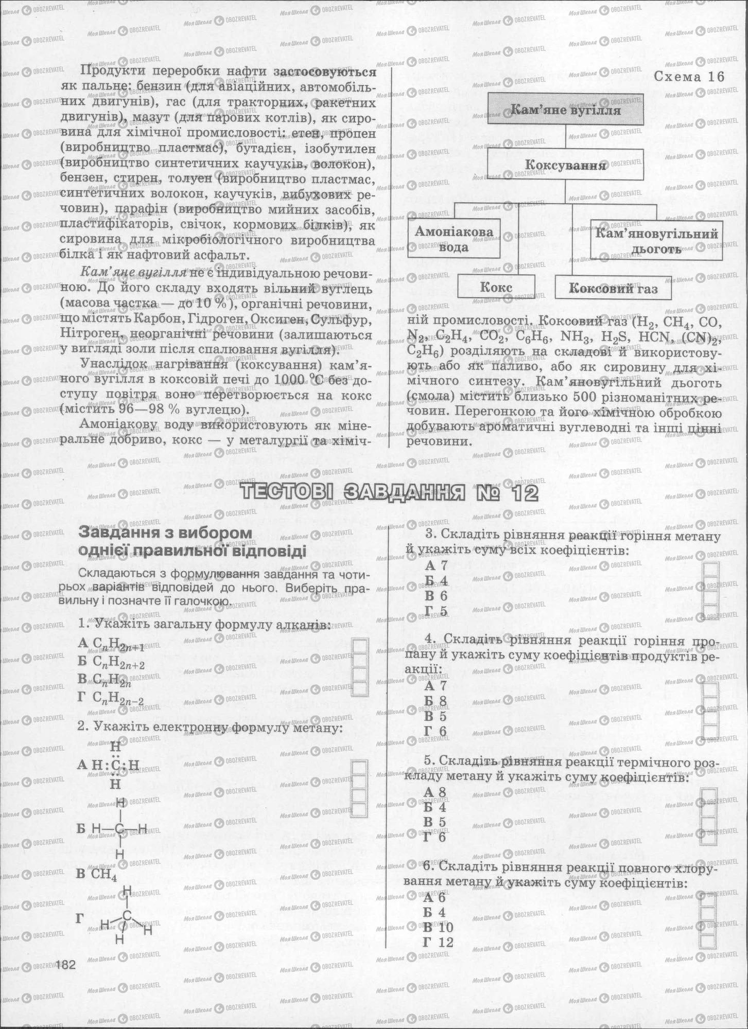 ЗНО Хімія 11 клас сторінка  182