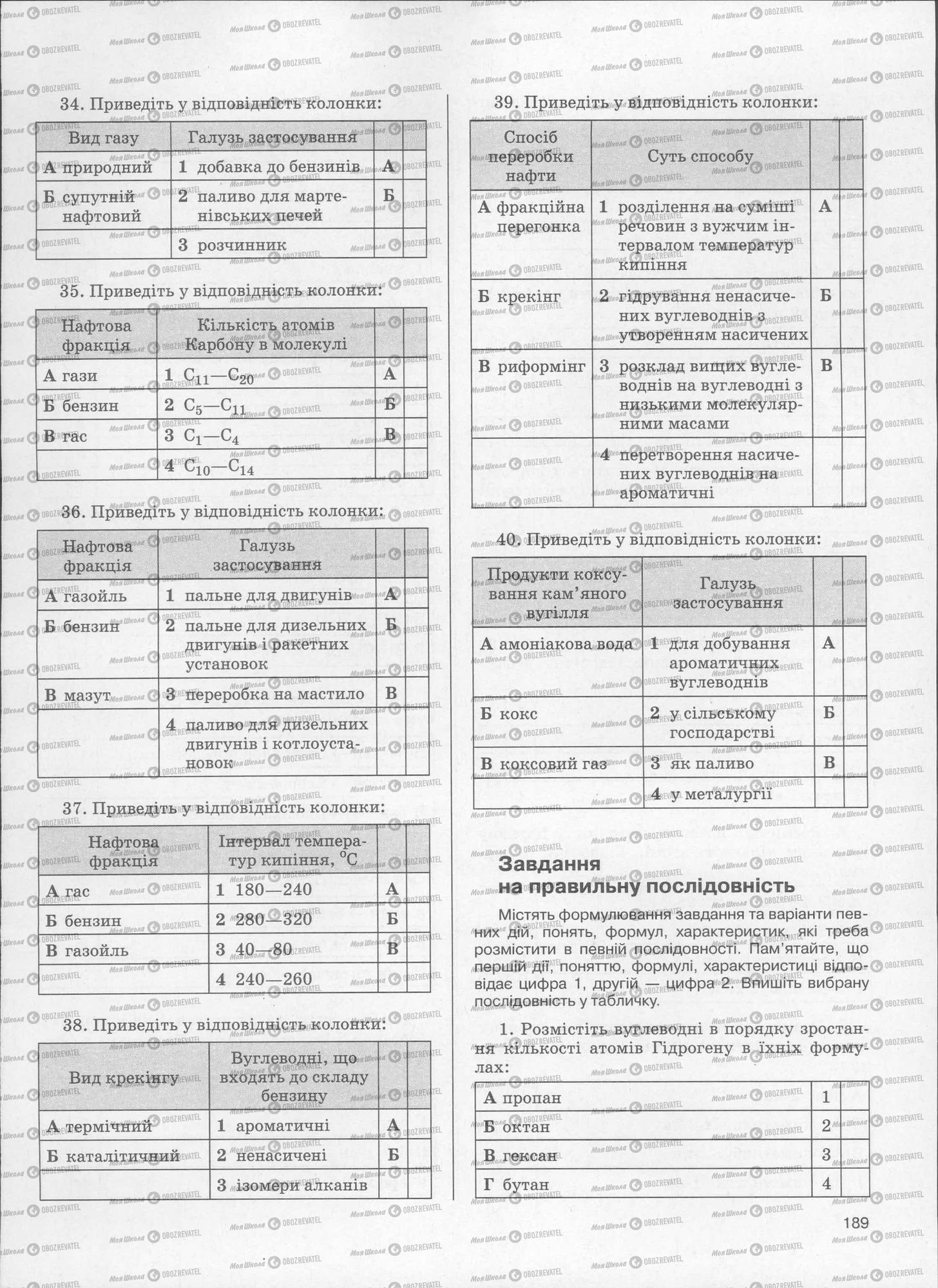 ЗНО Хімія 11 клас сторінка  189